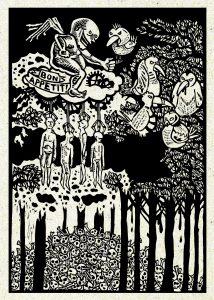 Contemporary linocut print